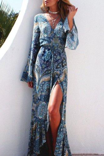 Bomshe V Neck Print White Maxi Dress(2 Colors)