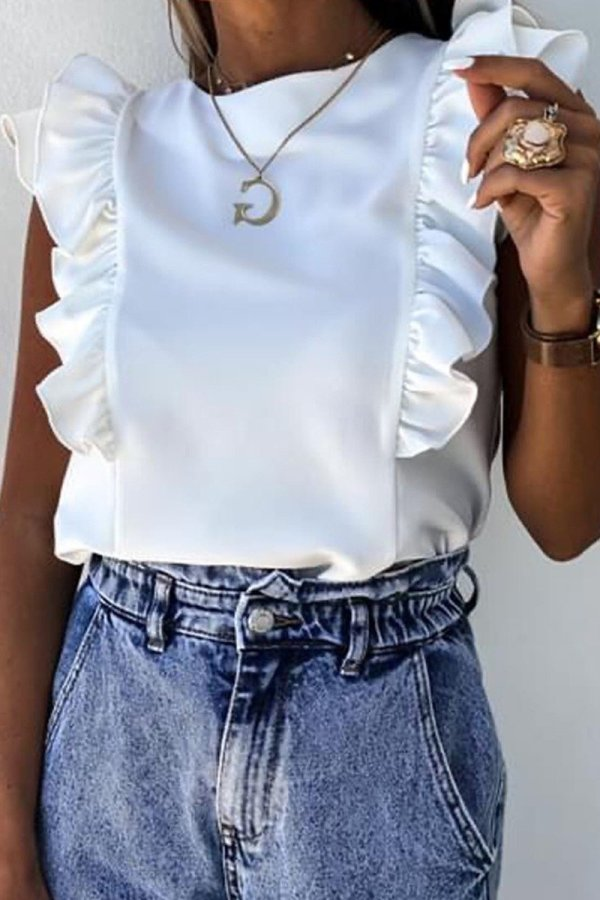 Bomshe Flounce Design White Camisole( 3 Colors)