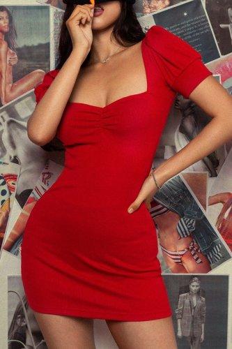 Bomshe Fold Design Red Mini Dress