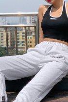 Bomshe Letter Grey Pants