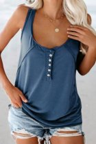 Bomshe Buttons Design Blue Camisole(2 Colors)