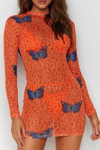 Bomshe Butterfly Print JacinthMini Dress