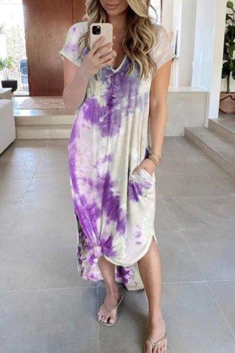 Bomshe V Neck Tie-dye Skyblue Maxi Dress(3 Colors)