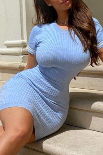 Bomshe O Neck Striped Blue Mini Dress