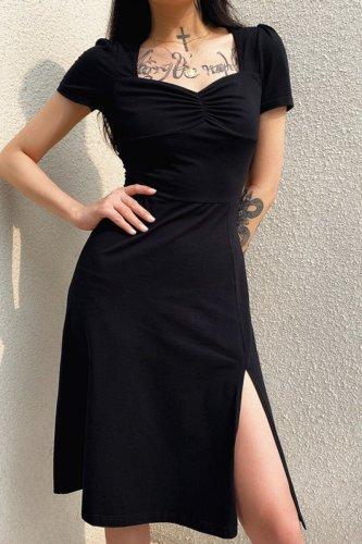 Bomshe Side High Slit Black Midi Dress