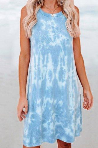 Bomshe Tie-dye Baby Blue Tank Mini Dress