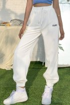 Bomshe Letter Lace-up White Pants