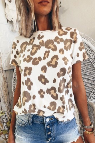 Bomshe O Neck Print White T-shirt