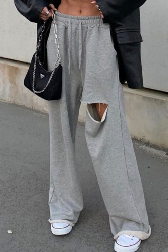 Bomshe Hollow-out Grey Pants