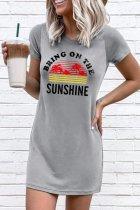 Bomshe O Neck Sunshine Print Grey Mini Dress