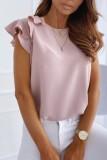 Bomshe Cute Flounce Design Pink Blouse(2 Colors)