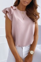 Bomshe Cute Flounce Design Pink Blouse(2 Colors)