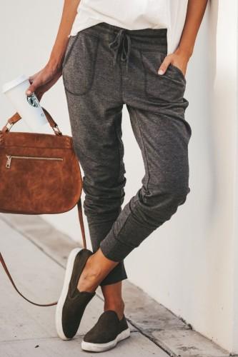 Bomshe Pocket Patched Dark Grey Pants