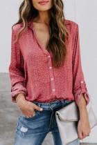 Bomshe Turndown Collar Print Red Shirt(2 Colors)
