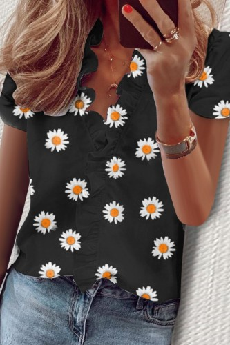 Bomshe Floral Print Black Blouse(3 Colors)