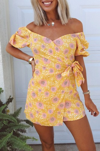 Bomshe Floral Print Yellow Romper