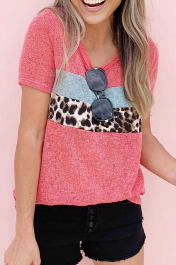 Bomshe O Neck Print Patchwork Pink T-shirt(2 Colors)