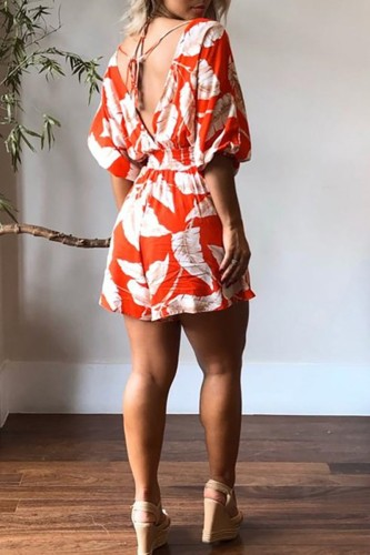 Bomshe Plants Print Backless Multicolor One-piece Romper