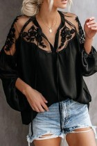 Bomshe Patchwork Lace-up Black Blouse