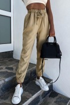 Bomshe Lace-up Khaki Pants