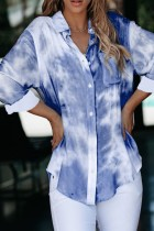 Bomshe Turndown Collar Tie-dye Blue Blouse(2 Colors)