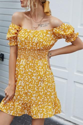 Bomshe Floral Print Yellow Mini Dress