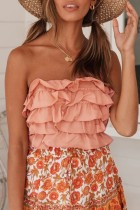 Bomshe Layered Cascading Ruffle Pink Camisole(3 Colors)
