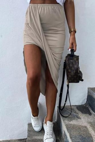 Bomshe Fold Design Asymmetrical Khaki Skirt(2 Colors)