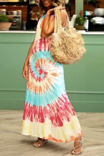 Bomshe Tank Style Tie-dye Multicolor Maxi Dress