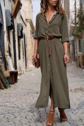 Bomshe Turndown Collar Buttons Design Ankle Length Dress(3 Colors)