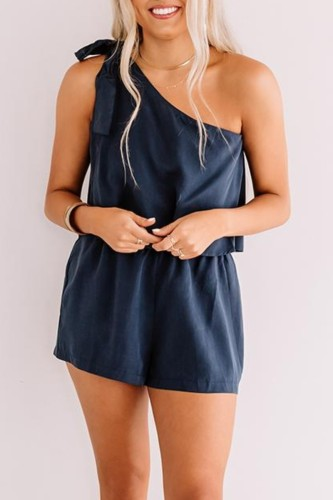 Bomshe One Shoulder Lace-up Blue One-piece Romper
