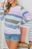 Bomshe O Neck Striped Purple T-shirt