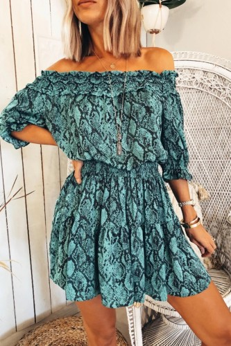 Bomshe Dew Shoulder Print Blue Mini Dress