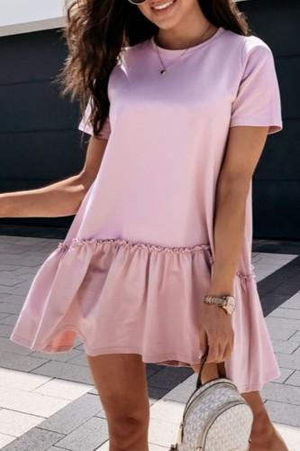 Bomshe Fold Design Flounce Hem Khaki Mini Dress(2 colors)