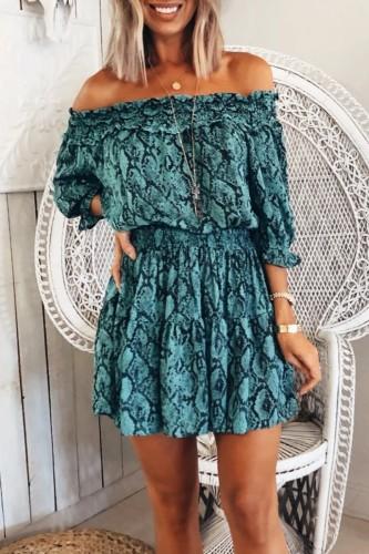 Bomshe Dew Shoulder Print Blue Mini Dress