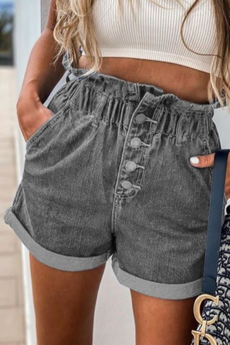 Bomshe Buttons Design Grey Shorts(2 Colors)