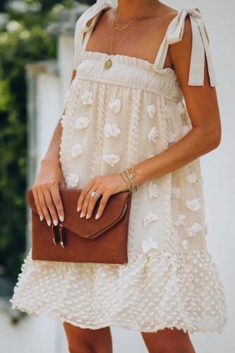 Bomshe Lace-up Apricot Mini Dress
