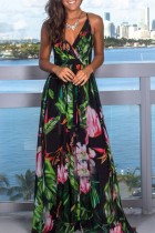Bomshe V Neck Plants Print Multicolor Maxi Dress