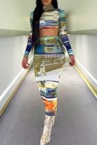 Bomshe Turtleneck Print Multicolor Two-piece Skirt Set
