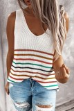 Bomshe Rainbow Striped White Camisole( 3 Colors)