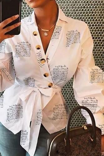Bomshe Buttons Design Letter Print White Blouse