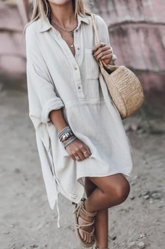 Bomshe Turndown Collar Drawstring White Mini Dress(2 Colors)
