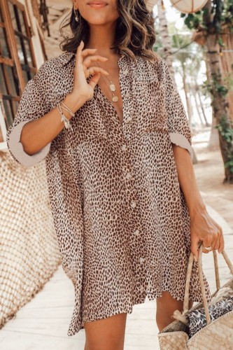 Bomshe Leopard Print Button Up Coffee Mini Dress
