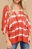 Bomshe V Neck Tie-dye Red Blouse(2 Colors)