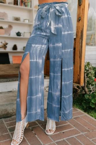 Bomshe Tie-dye Front Slit Blue Pants(2 Colors)