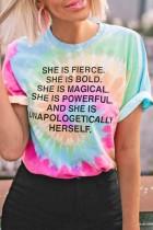 Bomshe O Neck Tie-dye Multicolor T-shirt