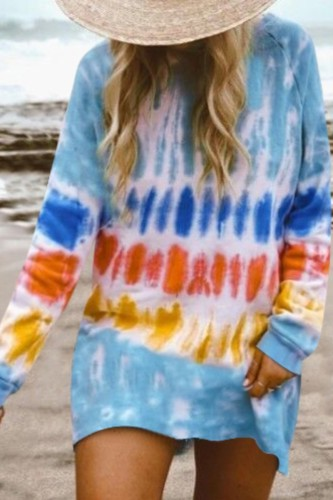 Bomshe Sweatshirt Style Tie-dye Blue Mini Dress(7 Colors)