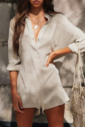 Bomshe Buttons Design Apricot One-piece Romper