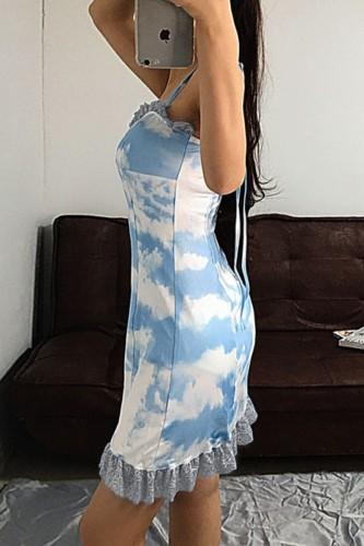 Bomshe Spaghetti Strap Tie-dye Blue Mini Dress