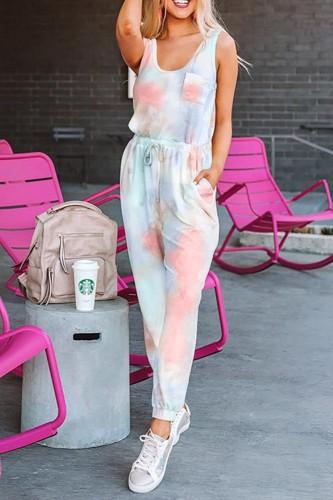 Bomshe O Neck Tie-dye Multicolor Two-piece Pants Set